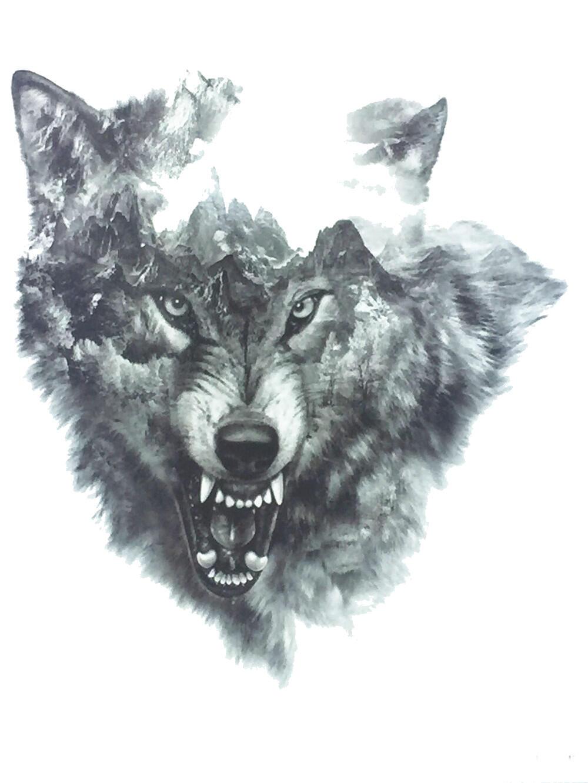Tatouage Temporaire Loup Tete Grogne En Exclusif Par Kolawi