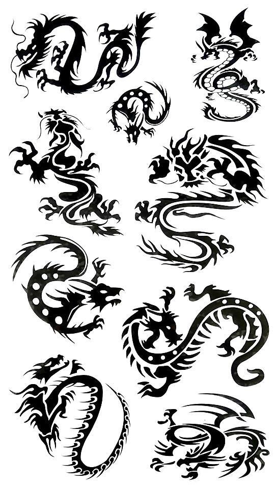 Dragon Tribal Tatouage faux tatouage dragons tribal - kolawi