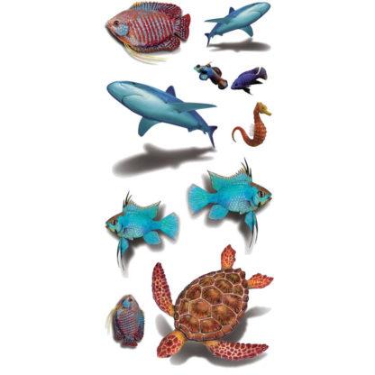 Tatouage temporaire poisson tortue requin 3D