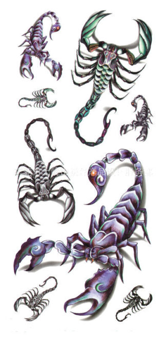 Tatouage ephemere scorpions 3D