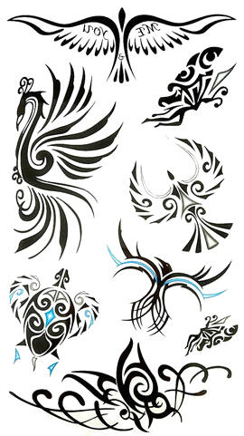 Tatouage ephemere oiseau tortue tribal