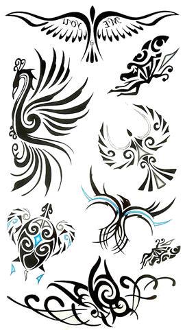 Tatouage ephemere oiseau tortue tribal