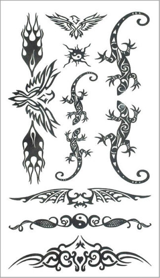 Tatouage ephemere lezard tribal phoenix