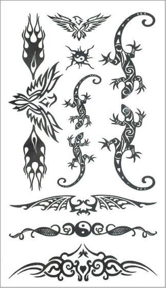 Tatouage ephemere lezard tribal phoenix
