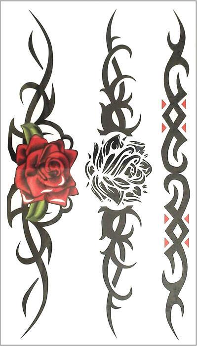 Faux tatouage tribal rose noire