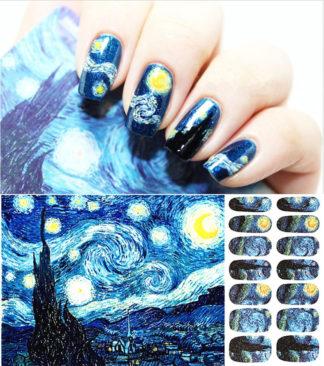 Tatouage temporaire ongle bleu lune 14pcs/set 10mm-17.5mm