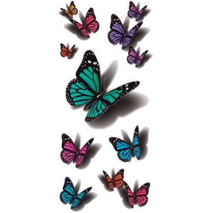Tatouage ephemere papillons multicolor 3D
