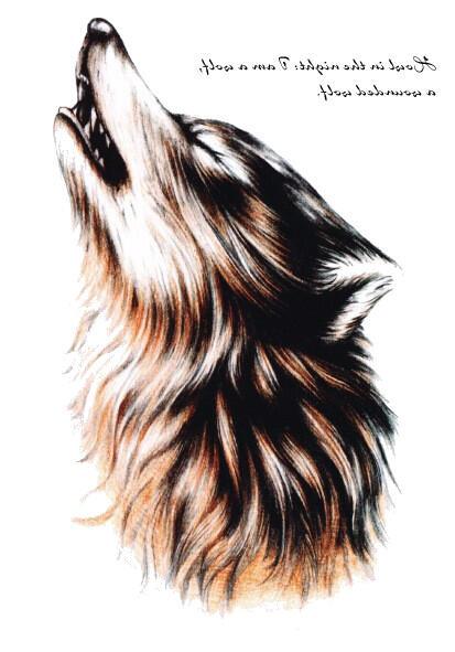 Tatouage temporaire loup hurlant
