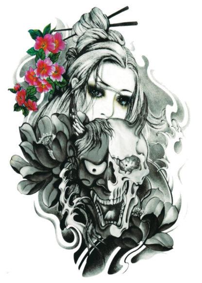 Tatouage temporaire femme et demon Old school
