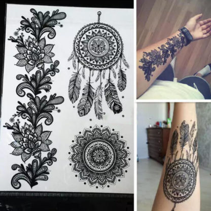 Faux tatouage attrape-reve rosace