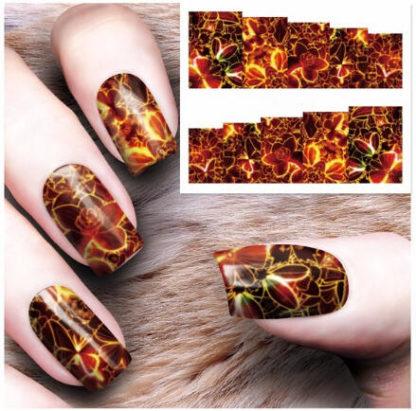 Tatouage temporaire ongle feu /fleur