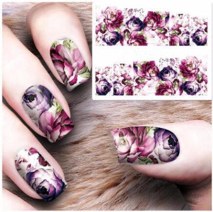 Faux tatouage ongle fleur rose move
