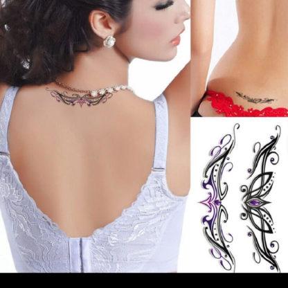 Tattoo tribal bas dos violet noir