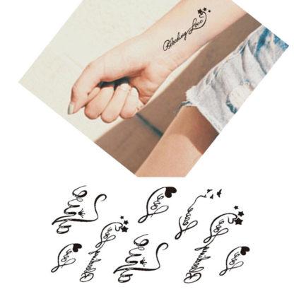 Faux tatouage plusieurs mot love