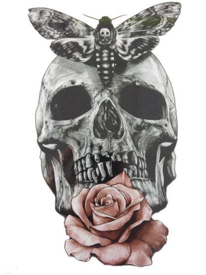 Tatouage temporaire tete de mort papillon et rose