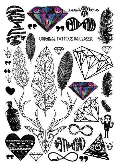 Tattoo diamant triangle plume