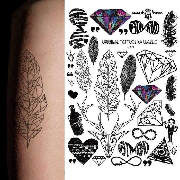 tattoo diamant triangle plume - kolawi