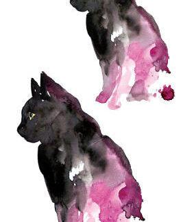 Faux tatouage chats ombre et rosée