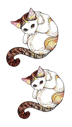 Tatouage temporaire chat cocoon