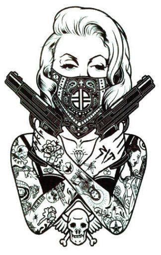 Tatouage temporaire femme revolver Old school