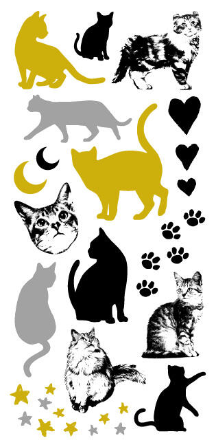 Tatouage temporaire chat gold silver