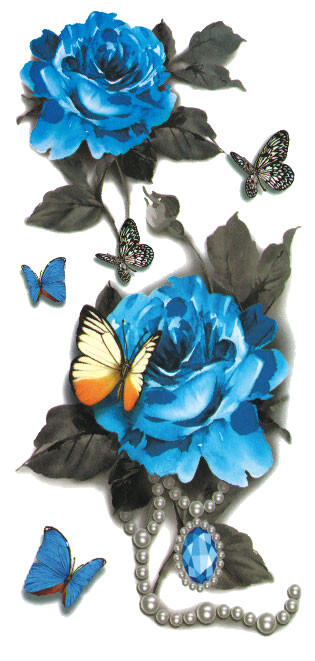 Tatouage ephemere rose bleu