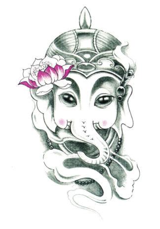 Tatouage temporaire elephant bouddha