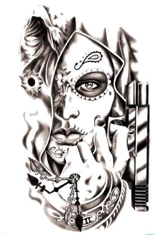 Tatouage temporaire femme masquée