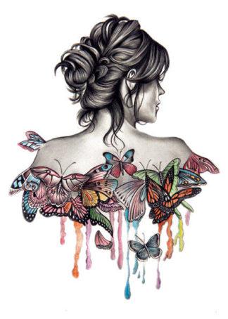 Faux tatouage femme papillons