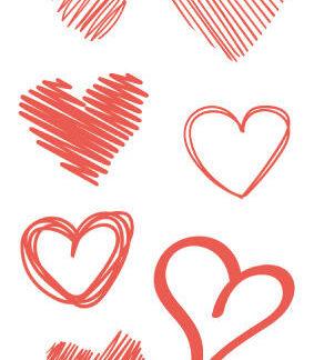 Tattoo coeur rouge rayé 7