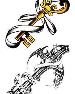 Faux tatouage clef croix ruban