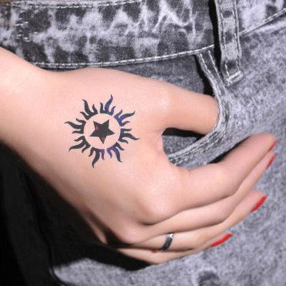 Tatouage ephemere Soleil et etoile