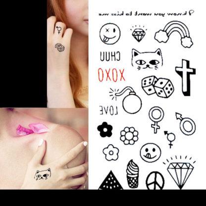 Faux tatouage emoticone peace croix symbole