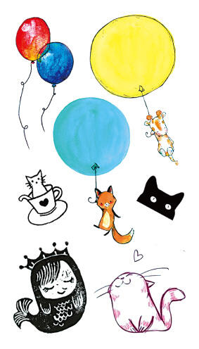 Tattoo ballon chat Enfant