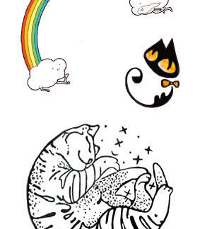 Tatouage ephemere chat arc en ciel