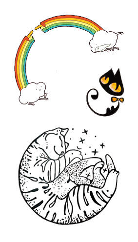 Tatouage ephemere chat arc en ciel
