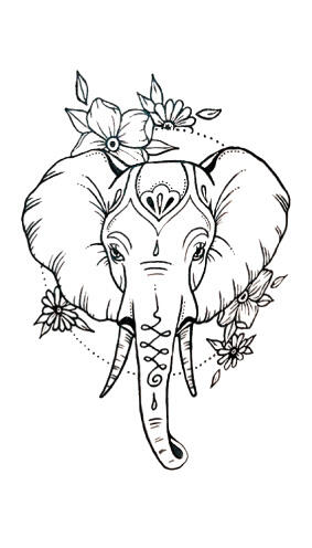 Tattoo elephant fleuri