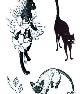 Tatouage temporaire chat et fleur