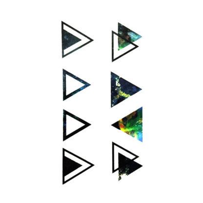 Faux tatouage triangles multicolor