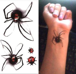 Tatouage temporaire araignee coccinelle 3D