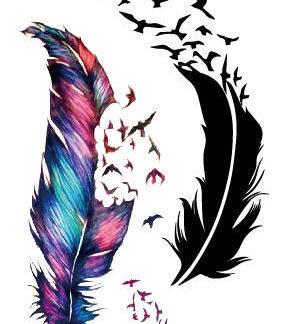 Tatouage ephemere plumes envol oiseaux