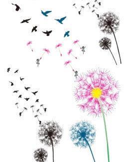 """Faux tatouage fleur """"cheveux d ange"""" envol oiseaux"""