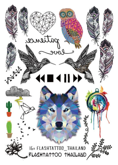 Tatouage ephemere loup oiseau plume art