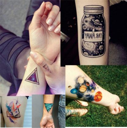 Faux tatouage planète espace triangle