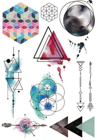 Tattoo aquarelle abstrait geometrie