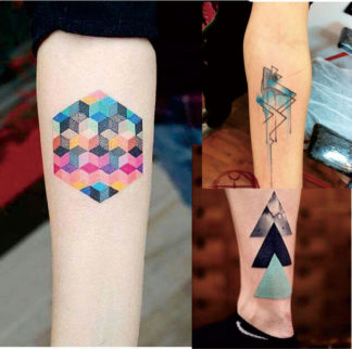 Tattoo aquarelle abstrait geometrie