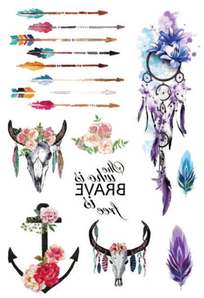Faux tatouage Vaudou fleche taureau fleur