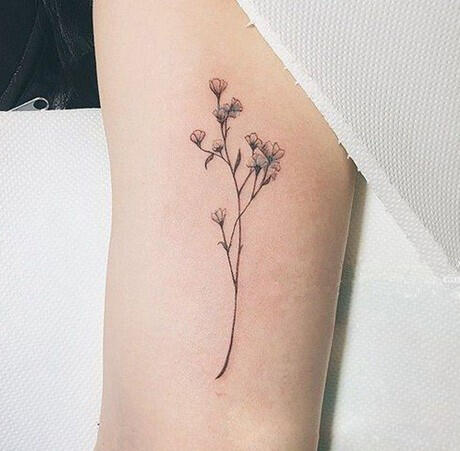 Tatouage Ephemere Fines Fleurs Rose Et Verte Kolawi