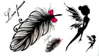 Faux tatouage fée et plume