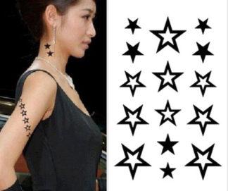 Tatouage temporaire etoiles noires et blanches